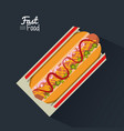 poster fast food in black background with hotdog vector image vector image