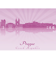 Prague skyline in purple radiant orchid vector image vector image