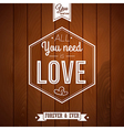 Romantic card on a wooden background vector image