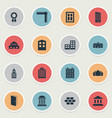 set of 16 simple structure icons can be found vector image vector image