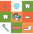 set of dental care element for tooth concept 09 vector image