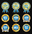 set of excellent quality blue badges with gold vector image vector image