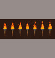 set of medieval sprite torches with burning fire vector image vector image