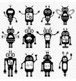 set of robots in cartoon style vector image vector image