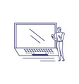 silhouette man with laptop in white background vector image vector image
