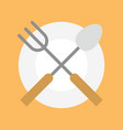 spoon fork and plate icon flat design vector image
