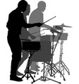 street musicians drummers isolated on white backgr vector image