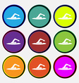 swimmer icon sign Nine multi colored round buttons vector image