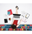 top view young woman sitting on floor vector image vector image