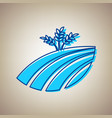 wheat field sign sky blue icon with vector image vector image
