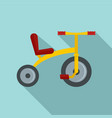 yellow tricycle icon flat style vector image vector image