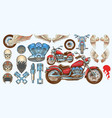 set of icons of vintage motorcycle in various vector image