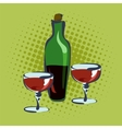 Bottle for wine and two glasses vector image