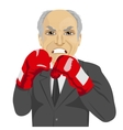 angry senior businessman with boxing gloves vector image vector image