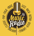 banner for music radio with golden microphone vector image vector image