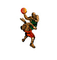 Basketball Player Dunking Blocking vector image