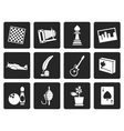 Black Hobby Leisure and Holiday Icons vector image vector image