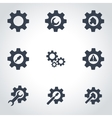 black tools in gear icon set vector image vector image