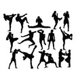 boxing sport silhouettes activity vector image vector image
