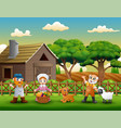 cartoon of farmers happy work in the farm vector image vector image
