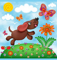 childrens a dog in a meadow with flowers and vector image vector image