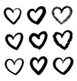 collection set doodle hearts isolated on white vector image vector image