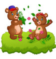cute couple of teddy bears playing with fallen lea vector image vector image