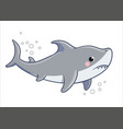 cute sad shark on a white background vector image vector image