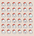 cute santa seal emotion face in various expession vector image