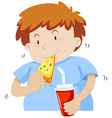 Fat boy eating pizza vector image