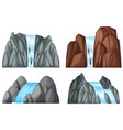 four pattern of waterfall and rocks vector image vector image