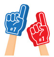 hand wearing foam finger number one and best vector image vector image