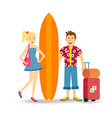 Happy couple young surf holiday summer travel vector image