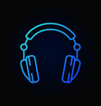 headphones blue icon in line style on dark vector image vector image