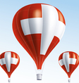 Hot balloons painted as swiss flag vector image