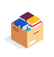 isometric box with books isolated vector image vector image
