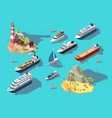 isometric ships boats and sailing vessels ocean vector image