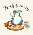 jug of milk and fresh bread vector image vector image