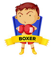 Label design with man boxing vector image vector image