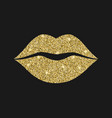 lip icon with glitter effect isolated on black vector image vector image
