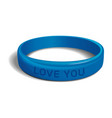 love you blue plastic wristband vector image vector image