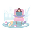 mom working from home at computer vector image