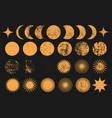moon phases sun planet star universe objects vector image
