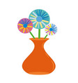 orange vase of flowers vector image