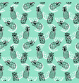 pineapples seamless pattern on mint background vector image