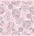 pink seamless patterns with cupcake croissant and vector image