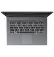 realistic laptop computer top down view vector image