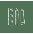 School supplies icon drawn in chalk vector image vector image