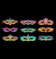set of beautiful masquerade masks vibrant vector image