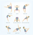 set of isolated yoga poses young women vector image